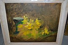 Arthur Spooner, oil on board, study of daffodils, provenance verso, 12ins x 14ins