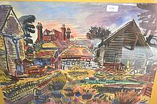 George Hooper, watercolour, farmyard in Bletchingley or Betchworth, signed and dated 1956, 18.5ins x 24ins, framed