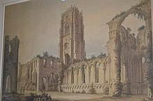 19th Century hand coloured engraving, view of Fountains Abbey