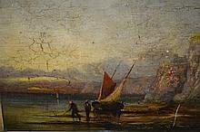 19th Century oil on panel, coastal scene with beached fishing boat and figures, 10ins x 13.5ins, gilt framed