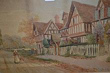 Late 19th / early 20th Century watercolour, figures in a street before beamed cottages, unsigned, gilt framed, 14ins x 21ins