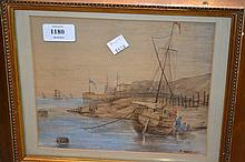 Late 19th Century watercolour, coastal scene with beached fishing boat and figures, signed R. Goodwin, signed and gilt framed, 7ins x 8ins