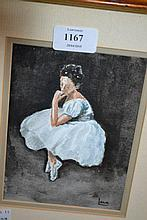Small watercolour study of a ballet dancer, signed, Lana, framed