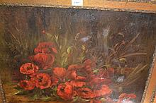 19th Century oil on canvas, still life, study of red poppies, indistinctly signed, framed, 23ins x 30ins