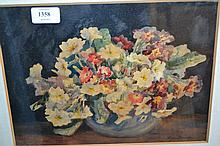 Marion Broom, watercolour, still life of flowers, signed, 8ins x 13ins