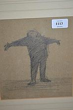 Graphite drawing, study of a standing figure, signed Riley, 8.5ins x 7.5ins