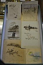 Collection of unframed watercolours and etchings signed by Charles Dixon, Wilfred Ball, W.L. Wyllie and others