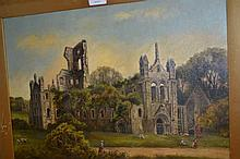 19th Century oil, landscape with children by abbey ruins, 13.5ins x 19.5ins