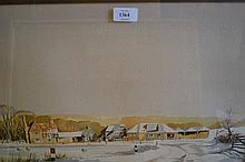 J. Chiswell, watercolour, view of farm buildings in snow, together with a watercolour, beach scene with figures flying a kite