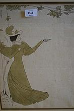 Pen, ink and wash of an Edwardian lady monogrammed C.H.M., framed, 15ins x 11ins