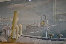 Phoenix Kelly, print, entitled ' Drifter and Paddle Steamers ', together with M. Martin 19th Century watercolour, landscape with figure in farmstead, framed, 12ins x 16ins