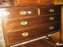Edwardian mahogany dressing chest with swing mirror above a jewel drawer, two short and two long drawers with brass handles