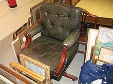 Green leather office chair