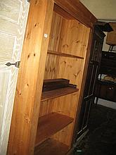 Modern polished pine four shelf open bookcase