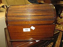 Early 20th Century mahogany tambour top stationery cabinet