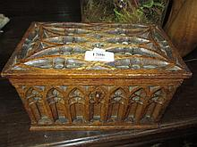 Victorian Gothic style carved oak correspondence box