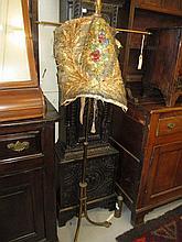 Victorian gilt brass pole screen (a/f)