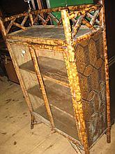 Victorian bamboo two door bookcase