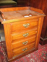 Pair of Victorian walnut table top Wellington chests, each with a galleried moulded top above four drawers with original brass handles, side locking mechanism and plinth bases, height 19ins, width 15ins