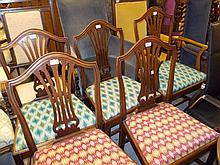 Reproduction mahogany dining room suite comprising: harlequin set of six chairs, drop-leaf pedestal table and sideboard