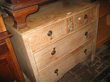 1930's Oak three drawer bedroom chest with brass drop handles