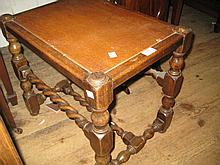 Beechwood stool on barley twist supports, a floral decorated poker work occasional table and a walnut bedside cupboard