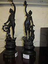 Pair of small 19th Century brown patinated spelter figures of maidens