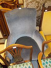 19th Century blue upholstered tub shaped chair raised on mahogany turned tapering supports