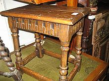 Reproduction oak joint stool on turned supports with stretchers
