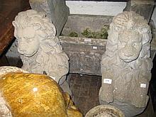 Pair of cast concrete garden figures of lions