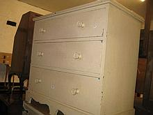 19th Century painted pine chest of three graduated drawers with knob handles