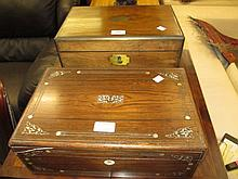 19th Century walnut and brass bound rectangular fold-over writing box and a Victorian rosewood writing box