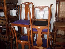 Mid 20th Century suite of burr walnut dining room furniture, comprising: set of six (five plus one) chairs, an extending dining table, side table, similar coffee table and small cabinet