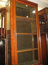 19th Century satinwood crossbanded and line inlaid single door display cabinet with four shelves on square tapering supports
