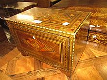 20th Century Syrian parquetry inlaid table cabinet, the fall front enclosing six small drawers