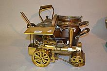 Brass model of a traction engine, copper post horn and a quantity of other metalware