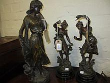 Brown patinated spelter figure of a girl ' Mignon ', together with a pair of French patinated spelter figures of maidens