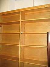 Large 20th Century blond oak two section bookcase with adjustable shelves