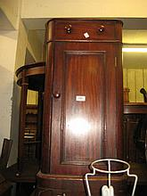 Victorian mahogany bedside cupboard with a single drawer above a panel door on plinth base