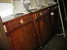Reproduction mahogany gilt metal mounted breakfront sideboard with three drawers above four cupboard doors on square tapering supports