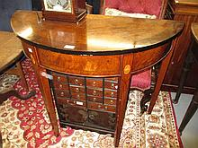 Reproduction inlaid half round side table in George III style