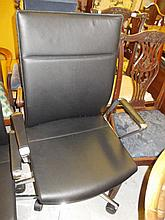 Girsberger modern black leather upholstered and polished metal revolving office chair