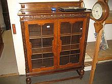 1930's Oak two door glazed bookcase