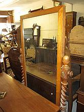 19th Century oak rectangular cheval mirror on spiral twist supports with splay feet