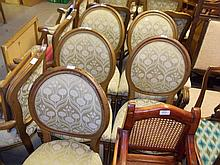 Similar set of five drawing room chairs with oval backs