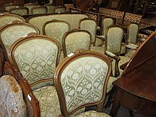Harlequin set of nine elbow and standard chairs