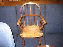 Child's 19th Century stick back Windsor type armchair with elm seat and turned supports (with repairs)