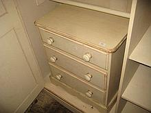 Similar 20th Century cream painted distressed pine three drawer bedroom chest with knob handles
