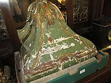 Late 19th Century green painted and gilt decorated heavily carved wall bracket (a/f), together with a 19th Century rectangular carved oak furniture panel, 25ins x 44ins (lacking some mouldings)