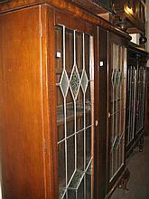 Early 20th Century mahogany two door display cabinet with leaded glass doors
